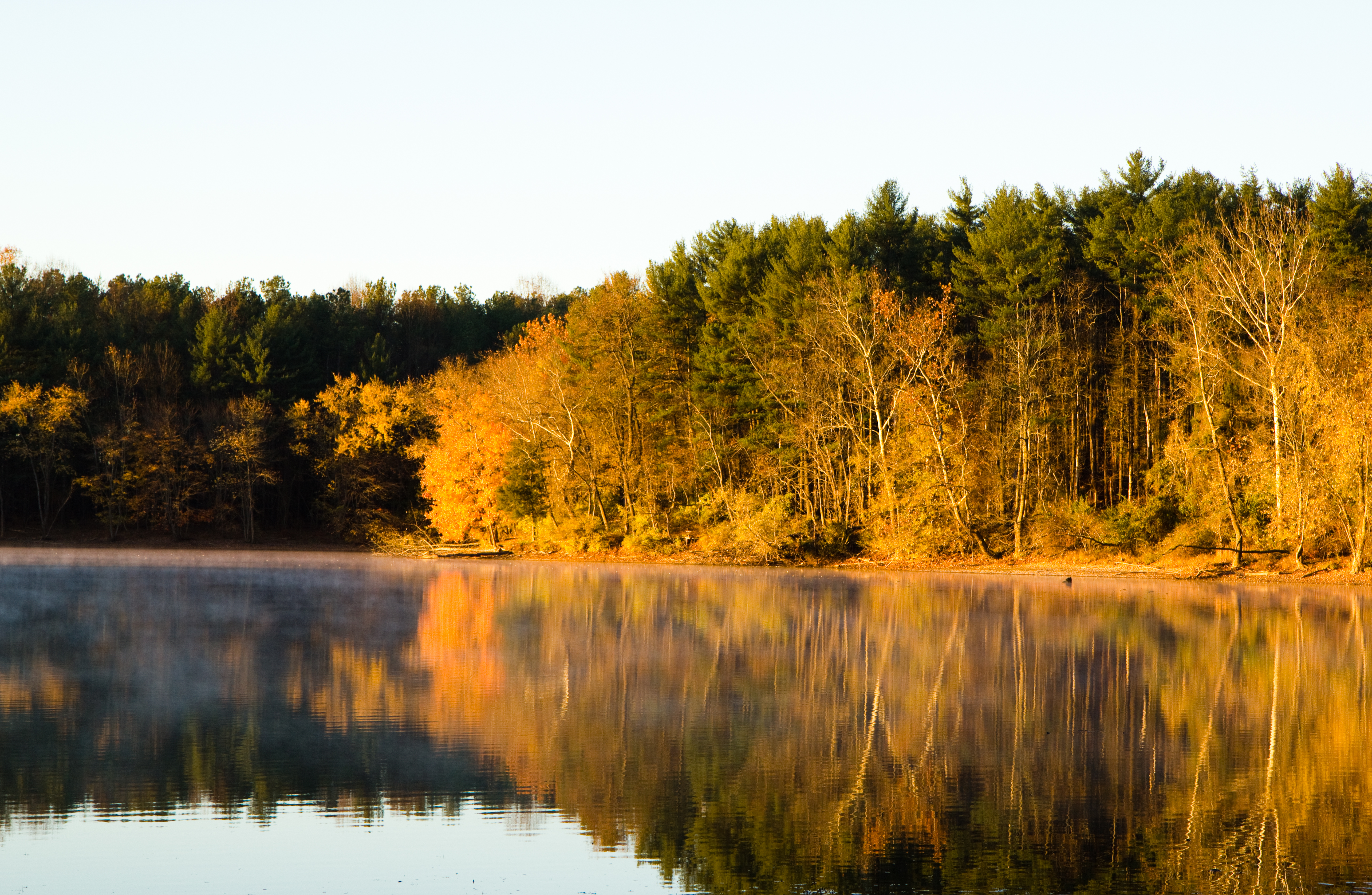 Fall image of Loch Raven Reservoir with Reflection of trees in water,6, Mike, Flickr,