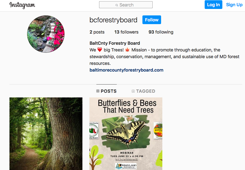 Image of instagram baltimore county forestry board